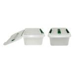 Контейнер для продуктов прямоуг. 6 л 30*23*12 см с ручкой с зеленым зажимом MG /1/12/