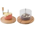 Нож для твердых сыров и шоколада на дерев. подставке d=22 см. с крышк. APS /1/