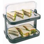 Этажерка для сервировки 2 яруса 44*32 см h=44 см с охлажд. с крышкой Roll-Top зеленая APS